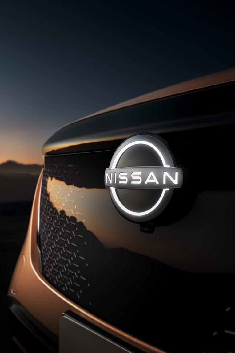 Nissan, ariya, logó, lökhárító,naplemente