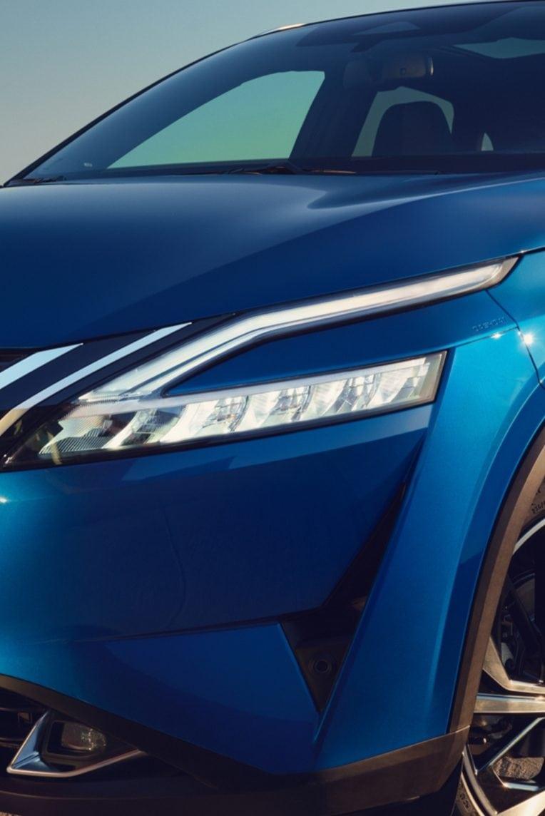 Nissan, fényszóró, közeli kép, kék