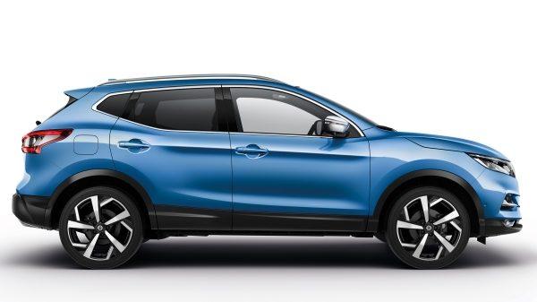 Nissan, qashqai, kék, oldals nézet, ajtók kerekek