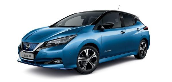 Nissan, leaf, kék, oldalnézet, dísztárcsa, visszapillantó