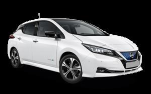 Nissan, leaf, fehér, oldalnézet, elektromos
