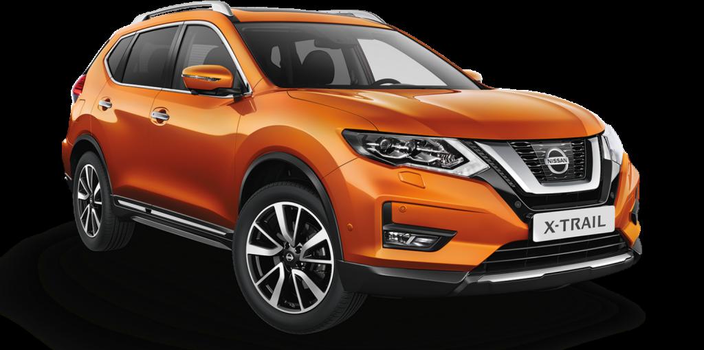 Nissan, narancssárga, X-Trail, szembőli nézet