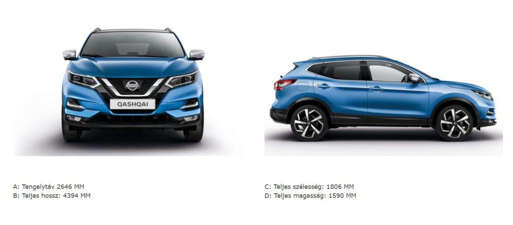 Nissan, qashqai, paraméterek,hosszúság,szélesség magasság