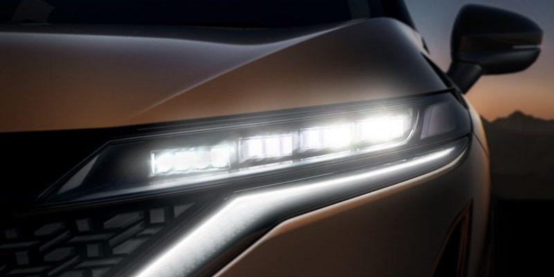 Nissan, ariya, bal első fényszóró, motorháztető
